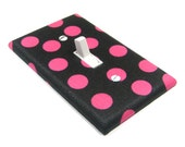 Hot Pink and Black Polka Dots Light Switch Cover Switchplate Switch Plate Home Decor