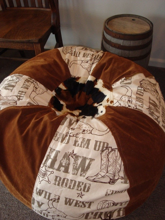 Western Rodeo And Faux Suede And Cow Print Bean Bag Chair
