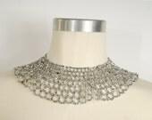 vintage 1960s / peter pan collar / silver / mod necklace / lace / statement necklace