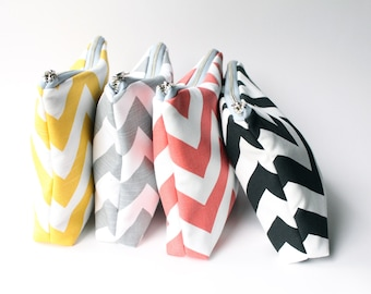 Large Chevron Cosmetic Bag,  Black and White, Coral, Gray, Yellow, Choose Colors, Make Up Bag, Metal Zipper