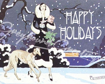 Vintage Altered Art Greyhound and Lady Happy Holidays Cards - Set of 4, with envelopes