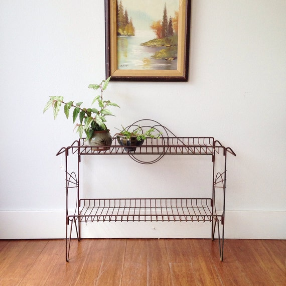 vintage mid century wire shelf unit atomic plant stand. Black Bedroom Furniture Sets. Home Design Ideas