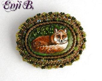 Broche renard peinture originale broderie de perles - romantique, nature, animaux de la forêt