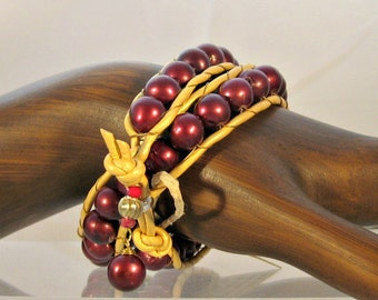 Burgundy Feshwater Pearl and Gold Leather wrap bracelet