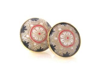 Baroque Earrings, Post Earrings, Red and Tan Earrings, Mosaic Earrings, Vintage Jewelry, Vintage Earrings