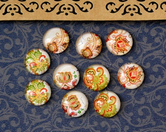 10pcs handmade assorted flora round clear glass dome cabochons 12mm (12-0837)