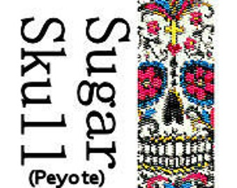 Peyote Bracelet Pattern Instant Download Sugar Skull Day of the Dead Beaded Cuff Bracelet Pattern Digital PDF 2 Drop Peyote