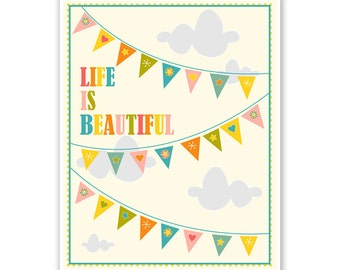 Children's Wall Art / Nursery Decor Life is Beautiful Bunting Color Mix... print by Finny and Zook