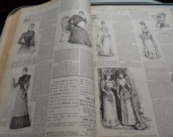 30 Pages Victorian 1891 Ads, Fashions, Hats, Articles, Ephemera Mixed Media Scrapbooking Antique LHJ