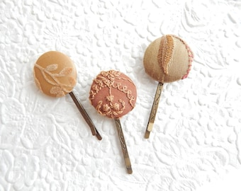 3 rust brown hairpins, embroidered hairpins, fabric hairpins, 1 1/8 inch hairpins, hair accessory, womens accessory