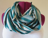 St. Patrick's Day Green and Grey Stripe Infinity Scarf - Two Sided Green Stripe
