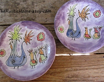 Rustic chicken pottery dinner plate made to order choose your colors farm country decor custom pottery dinnerware tableware birds flowers