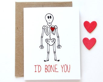 Funny Love Card - I'd Bone You
