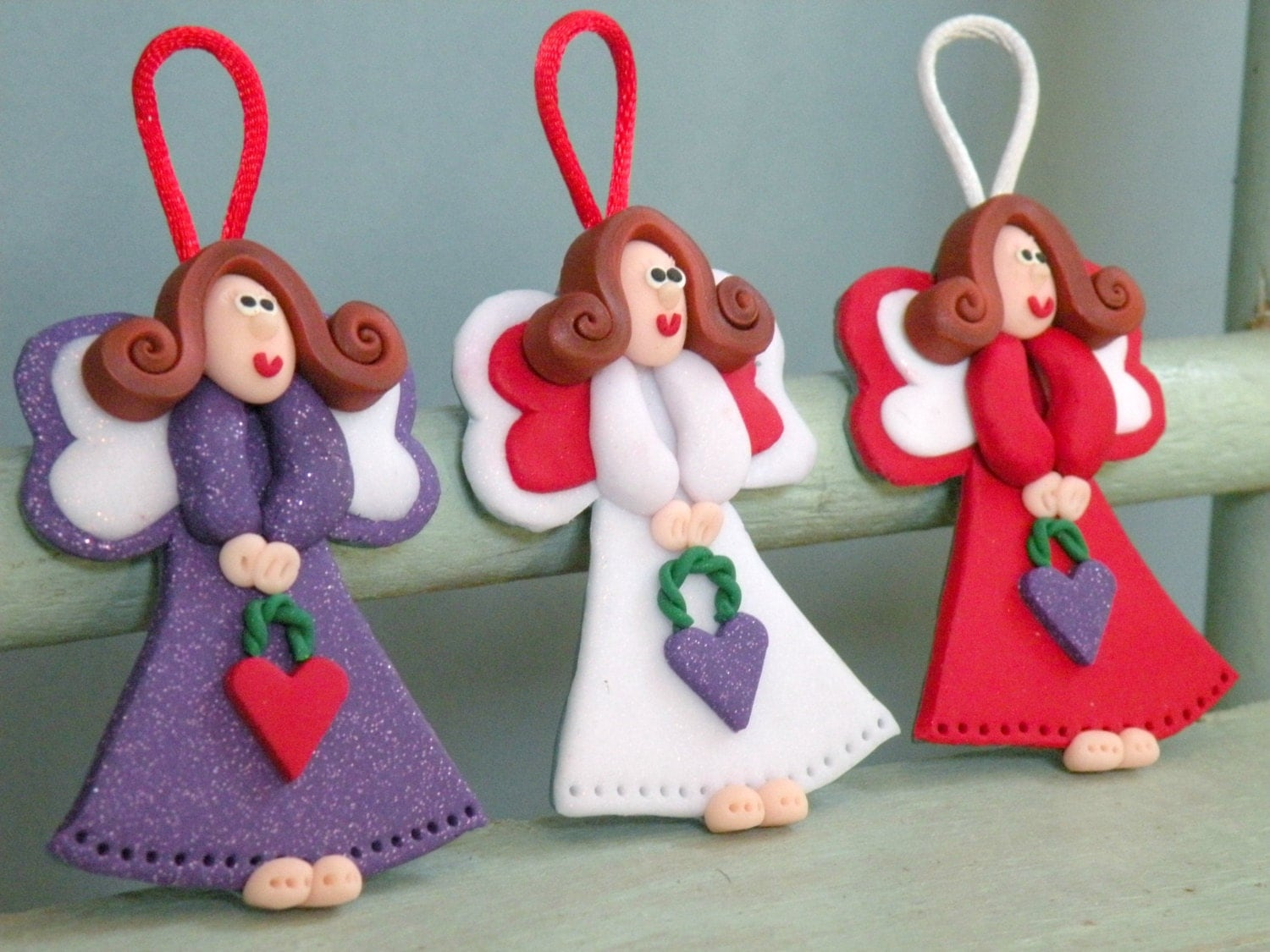Set of 3 Angel Ornaments Decor, Christmas Tree Ornament, Red, white, purple Angel, Baby Girl Decoration