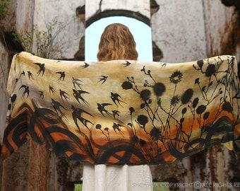 Digital Print Shawl, Silk Scarf, Birds Shawl, Yellow Scarf, Summer Scarf, Bridesmaid Gift, Large Shawl, Cotton Sarong, Summer Wrap