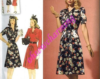 1940s Simplicity 1587 Sewing Pattern Vintage Style Sizes 6-8-10-12-14 WWII Dress Drop Waist