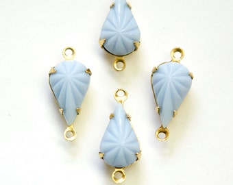 Vintage Opaque Etched Light Blue Glass Teardrop Stone 2 Loop Brass Setting par003AE2