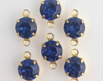 Vintage Montana Blue Faceted Glass Stone 2 Loop Brass Setting Drops 7mm (6) rnd001FF2