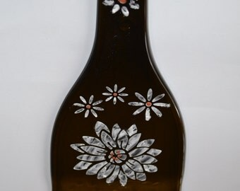 Spoon Rest Cheese Plate Sage Flower Design Recycled Glass Bottle Art