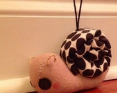Handmade little felt Snail with black and white spotted shell