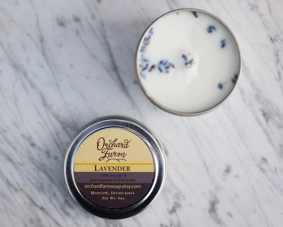 Lavender Soy Candle//Essential Oil//Travel Candle