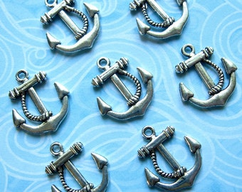 Anchor Charms 23mm - Set of 8 - Antique Silver Finish - Nautical Bracelet Charms (SC0023)