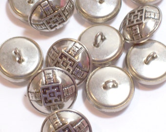 Silver Buttons, Silvertone Metal Buttons 11/16 inch(17 mm) diameter x 25 pieces Square Celtic Cross