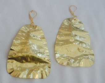 Very Crunchy Extra Large Brass Earrings