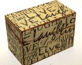Wood Recipe Box Burlap Live Laugh Love Fits 4x6 Cards