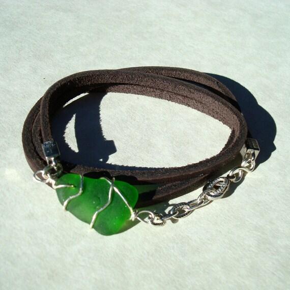 Sea Glass Brown Leather Wrap Bracelet -Green Wire Wrapped Beach Glass Jewelry