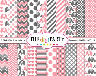 Elephant digital paper Baby Girl Pink and Gray Mega Pack scrapbook instant download pattern background baby shower commercial