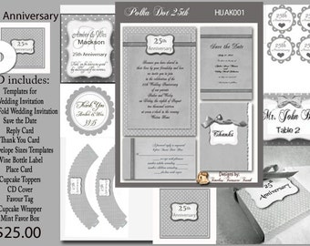 Silver Anniversary Invitation and Printable Party Items on CD