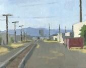Railroad Tracks, Medford, OR: Original Framed Oil Painting Plein Air Landscape
