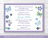 Butterfly Baby Shower Invitation INSTANT DOWNLOAD Editable PDF