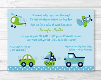 Cute Transportation Baby Shower Invitation / Vehicle Baby Shower Invite / Car / Truck / Sailboat / Airplane / Helicopter PRINTABLE