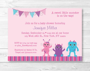 Cute Pink Monster Baby Shower Invitation / Monster Baby Shower Invite / Pink & Purple / Baby Girl Shower / PRINTABLE A332