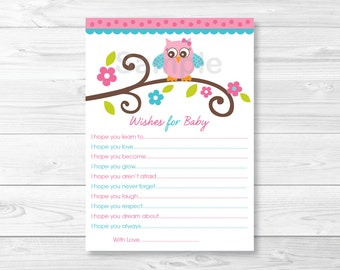 Girl Owl Wishes for Baby Advice Card INSTANT DOWNLOAD