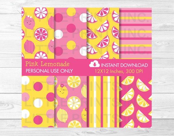 Cute Pink Lemonade Digital Paper / Pink Lemonade Patterns / Pink Lemonade Backgrounds / Lemonade Birthday / PERSONAL USE Instant Download
