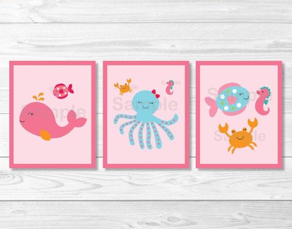 Pink Under the Sea Nursery Wall Art
