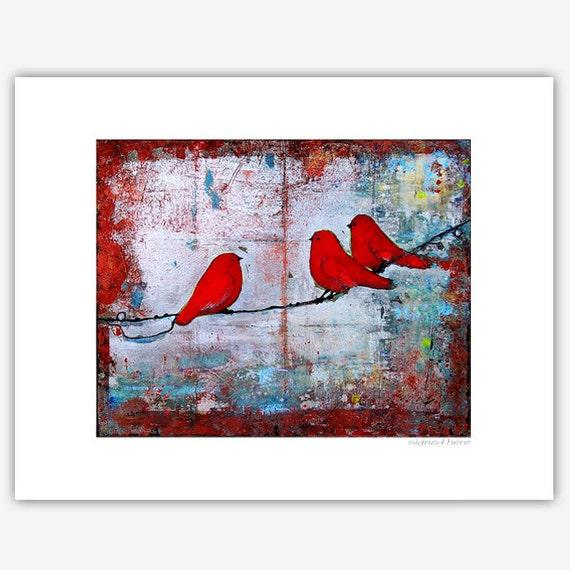 Three Little Birds Print Matted 11X14
