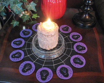 Purple Hand Stitched Halloween Spiders Wool Felt Candle Mat - Penny Rug - Primitive - Folk Art - Applique - Fiber Art - Home Decor
