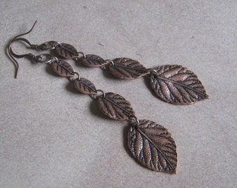 Long and Lovely Copper leaves Dangle Earrings