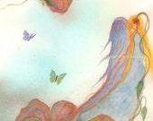 Watercolor Painting, Angel Art, Angel Painting, Angel Watercolor, Butterfly Art, Angel Art Print Titled Wildflower Angel