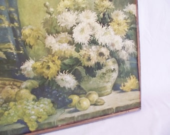Vintage Still Life Floral Print - P. Gericke Art Pub Co Chicago, Luscious Fruit -  1920s