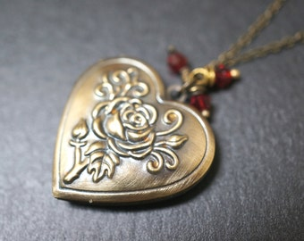 Ruby Red Vintage Romantic Rose Heart Locket Necklace - 16 inches