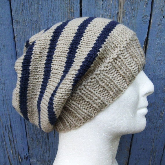 Striped Beanie Knitting Pattern : KNITTING PATTERN/CAMPUS Mans Striped Slouch Hat / Mans Striped