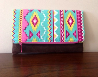 Fold Over Clutch- Aztec- Zipper Pouch- Evening Bag- Vegan Leather Bottom- Womens Accessories- Handmade Gifts- Tribal