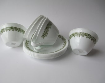Vintage Corelle Spring Blossom Cups and Saucers Set of Six