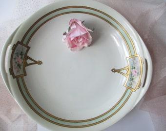 Large Vintage Haviland French Pink Green Rose Serving Bowl