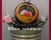 HONEY hand painted bumble bee gourd bucket spring posies summer bug garden flowers teamhaha ofg prim chick HAFAIR lisa robinson